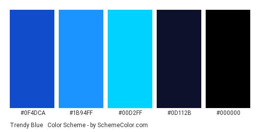 Trendy Blue & Black - Color scheme palette thumbnail - #0f4dca #1b94ff #00d2ff #0d112b #000000