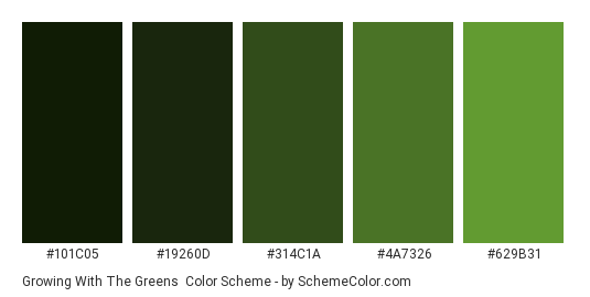 Growing with the Greens - Color scheme palette thumbnail - #101c05 #19260D #314C1A #4A7326 #629B31