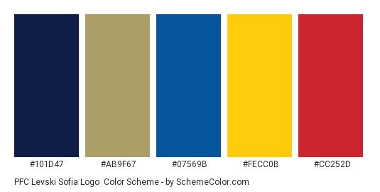 PFC Levski Sofia Logo - Color scheme palette thumbnail - #101d47 #ab9f67 #07569b #fecc0b #cc252d