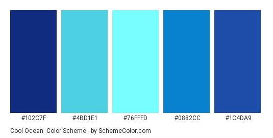 Cool Ocean - Color scheme palette thumbnail - #102C7F #4BD1E1 #76FFFD #0882CC #1C4DA9