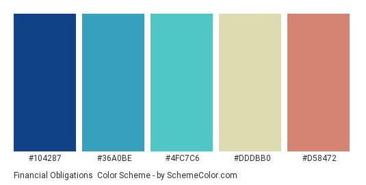 Financial Obligations - Color scheme palette thumbnail - #104287 #36a0be #4fc7c6 #dddbb0 #d58472