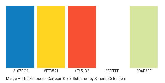 Marge – The Simpsons Cartoon - Color scheme palette thumbnail - #107dc0 #ffd521 #f65132 #ffffff #d6e69f
