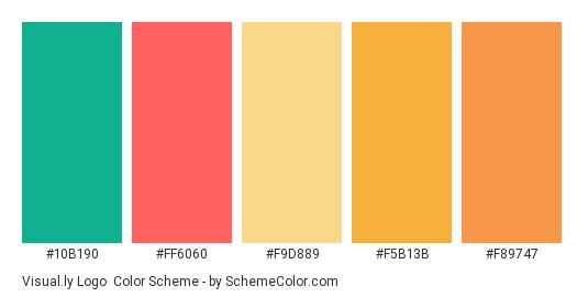 Visual.ly Logo - Color scheme palette thumbnail - #10b190 #ff6060 #f9d889 #f5b13b #f89747