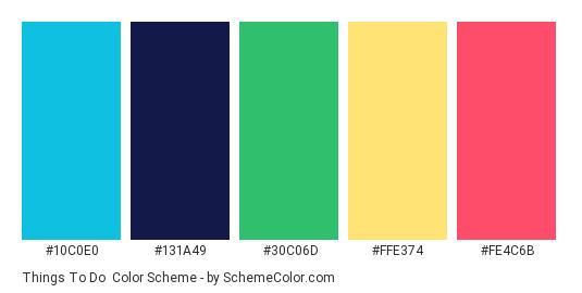 Things to Do - Color scheme palette thumbnail - #10c0e0 #131a49 #30c06d #ffe374 #fe4c6b