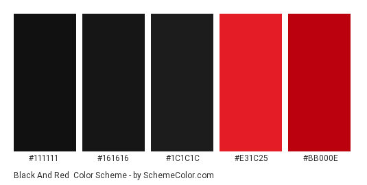 Black And Red Color Scheme Palette Thumbnail 111111 161616 1c1c1c