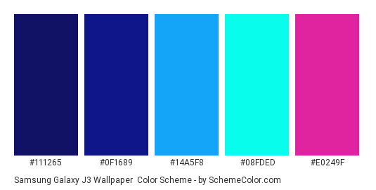 Samsung Galaxy J3 Wallpaper - Color scheme palette thumbnail - #111265 #0f1689 #14a5f8 #08fded #e0249f