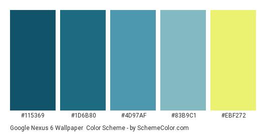 Google Nexus 6 Wallpaper - Color scheme palette thumbnail - #115369 #1d6b80 #4d97af #83b9c1 #ebf272