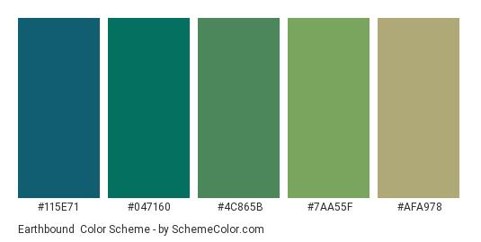 Earthbound - Color scheme palette thumbnail - #115E71 #047160 #4C865B #7AA55F #AFA978