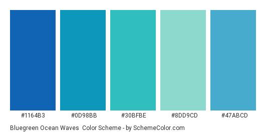 Bluegreen Ocean Waves - Color scheme palette thumbnail - #1164B3 #0D98BB #30BFBE #8DD9CD #47ABCD