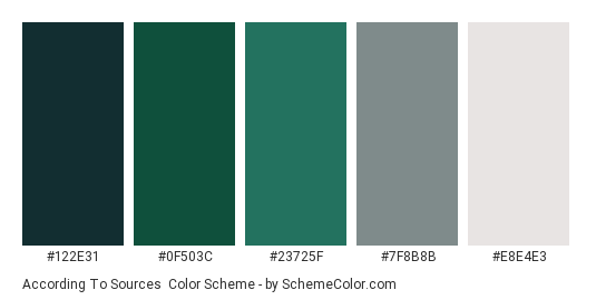 According to Sources - Color scheme palette thumbnail - #122E31 #0F503C #23725F #7F8B8B #E8E4E3