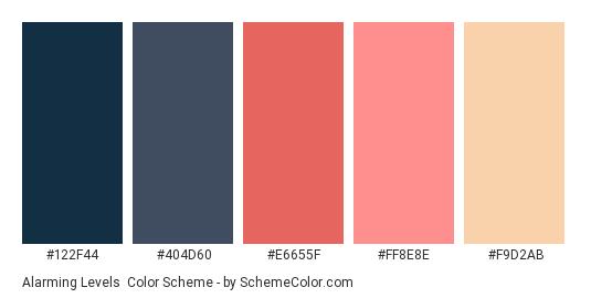Alarming Levels - Color scheme palette thumbnail - #122F44 #404D60 #E6655F #FF8E8E #F9D2AB