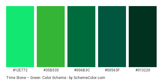 Time Stone – Green - Color scheme palette thumbnail - #12E772 #35B535 #006B3C #00563F #013220