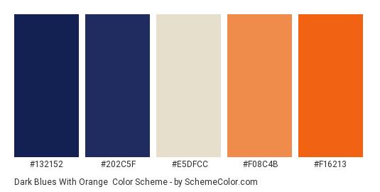 Dark Blues with Orange - Color scheme palette thumbnail - #132152 #202c5f #e5dfcc #f08c4b #f16213