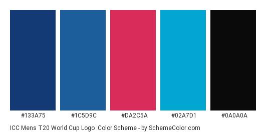 ICC Mens T20 World Cup Logo - Color scheme palette thumbnail - #133a75 #1c5d9c #da2c5a #02a7d1 #0a0a0a