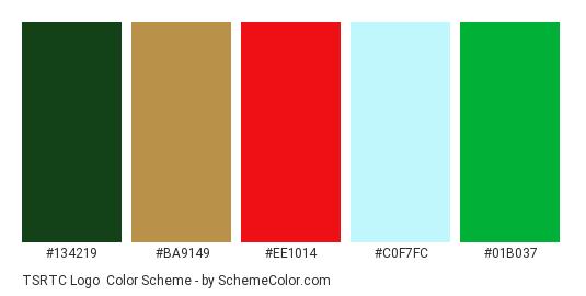 TSRTC Logo - Color scheme palette thumbnail - #134219 #ba9149 #ee1014 #c0f7fc #01b037