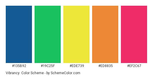 Vibrancy - Color scheme palette thumbnail - #135B92 #19C25F #EDE739 #ED8835 #EF2C67