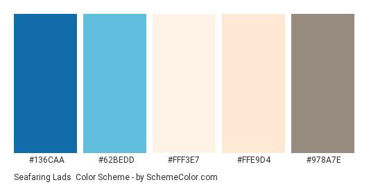 Seafaring Lads - Color scheme palette thumbnail - #136CAA #62BEDD #FFF3E7 #FFE9D4 #978A7E