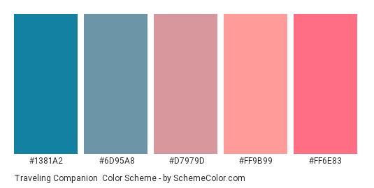 Traveling Companion - Color scheme palette thumbnail - #1381A2 #6D95A8 #D7979D #FF9B99 #FF6E83