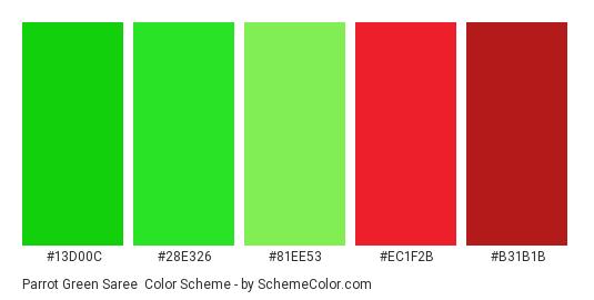 Parrot Green Saree - Color scheme palette thumbnail - #13D00C #28E326 #81EE53 #EC1F2B #B31B1B