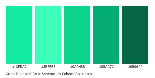 Green Diamond - Color scheme palette thumbnail - #13EBA2 #3BFEB8 #0AD48B #05AC72 #056644