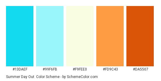 Summer Day Out - Color scheme palette thumbnail - #13daef #99f6fb #f9fee0 #fd9c43 #da5507