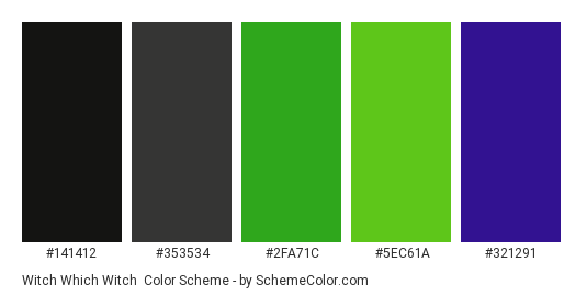 Witch Which Witch - Color scheme palette thumbnail - #141412 #353534 #2fa71c #5ec61a #321291