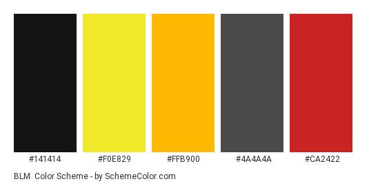 BLM - Color scheme palette thumbnail - #141414 #f0e829 #ffb900 #4a4a4a #ca2422