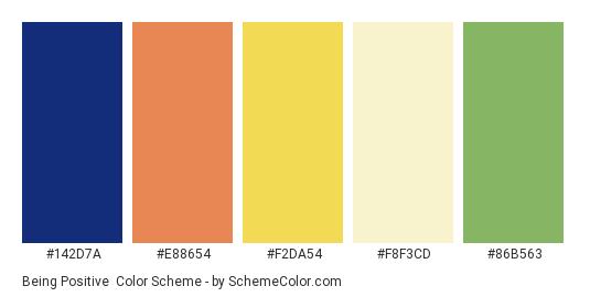 Being Positive - Color scheme palette thumbnail - #142d7a #e88654 #f2da54 #f8f3cd #86b563