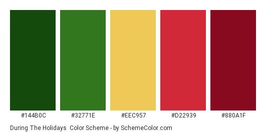 During the Holidays - Color scheme palette thumbnail - #144b0c #32771e #EEC957 #D22939 #880A1F