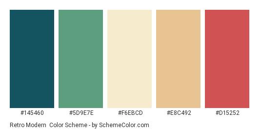 Retro Modern - Color scheme palette thumbnail - #145460 #5D9E7E #F6EBCD #E8C492 #D15252