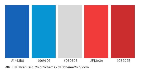 4th July Silver Card - Color scheme palette thumbnail - #1463B8 #0696D3 #D8D8D8 #F13A3A #CB2D2E