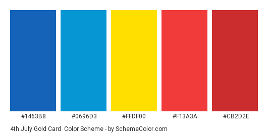4th July Gold Card - Color scheme palette thumbnail - #1463B8 #0696D3 #FFDF00 #F13A3A #CB2D2E