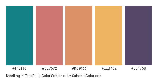 Dwelling in the Past - Color scheme palette thumbnail - #148186 #CE7672 #DC9166 #EEB462 #554768