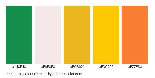 Irish Luck - Color scheme palette thumbnail - #148e48 #f6e8e8 #ecb621 #fdc902 #f77e33