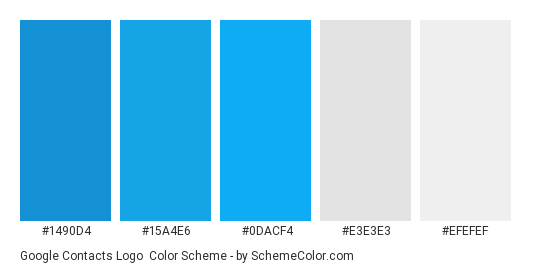 Google Contacts Logo - Color scheme palette thumbnail - #1490d4 #15a4e6 #0dacf4 #e3e3e3 #efefef