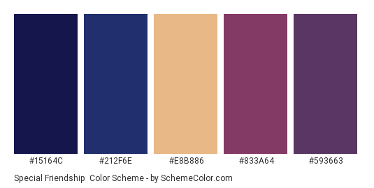 Special Friendship - Color scheme palette thumbnail - #15164c #212f6e #e8b886 #833a64 #593663