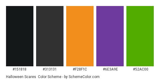 Halloween Scares - Color scheme palette thumbnail - #151818 #313131 #f28f1c #6e3a9e #52ac00