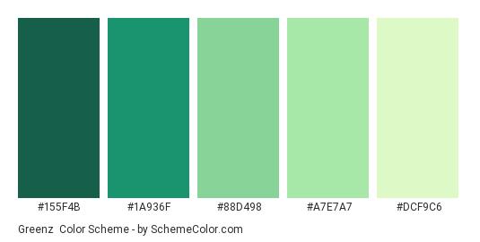Greenz - Color scheme palette thumbnail - #155F4B #1A936F #88D498 #A7E7A7 #DCF9C6