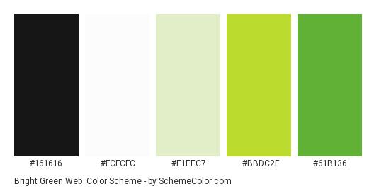 Bright Green Web - Color scheme palette thumbnail - #161616 #fcfcfc #E1EEC7 #BBDC2F #61B136