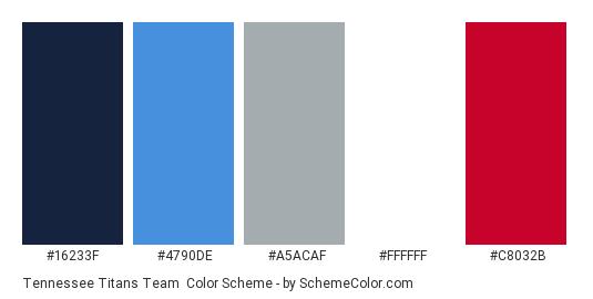 Tennessee Titans Team - Color scheme palette thumbnail - #16233f #4790de #a5acaf #ffffff #c8032b
