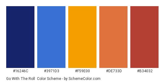 Go with the Roll - Color scheme palette thumbnail - #16246C #3971D3 #F59E00 #de733d #b34032