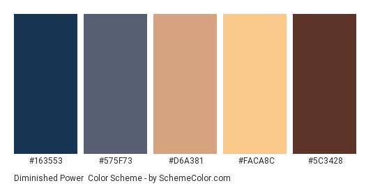 Diminished Power - Color scheme palette thumbnail - #163553 #575F73 #D6A381 #FACA8C #5C3428