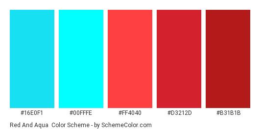 Red and Aqua - Color scheme palette thumbnail - #16E0F1 #00FFFE #FF4040 #D3212D #B31B1B