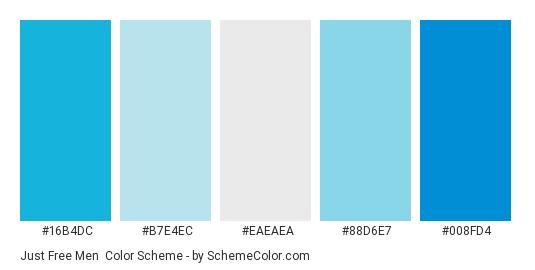 Just Free Men - Color scheme palette thumbnail - #16b4dc #b7e4ec #eaeaea #88d6e7 #008fd4