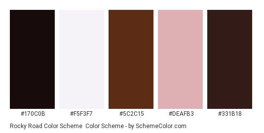 Rocky Road Color Scheme - Color scheme palette thumbnail - #170c0b #f5f3f7 #5c2c15 #deafb3 #331b18