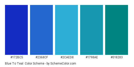 Blue to Teal - Color scheme palette thumbnail - #172bc5 #2368cf #2caed8 #1798ae #018283