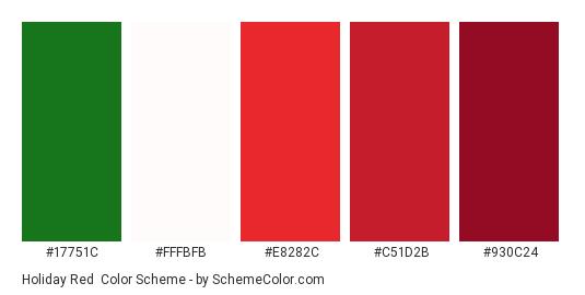 Holiday Red - Color scheme palette thumbnail - #17751c #fffbfb #e8282c #c51d2b #930c24