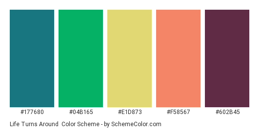 Life Turns Around - Color scheme palette thumbnail - #177680 #04b165 #e1d873 #f58567 #602b45