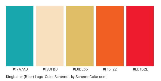 Kingfisher (Beer) Logo - Color scheme palette thumbnail - #17A7AD #F8DFBD #E0BE65 #F15F22 #ED1B2E