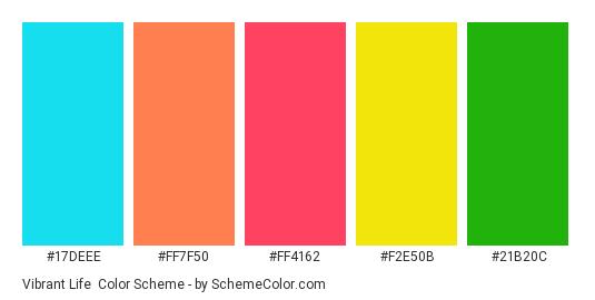 Vibrant Life - Color scheme palette thumbnail - #17deee #ff7f50 #ff4162 #F2E50B #21B20C